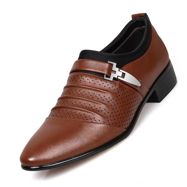 Summer New Men Sandals Holes Hollow Business Formal Shoes black White Male British Man Breathable Sandalias Dress Sandales