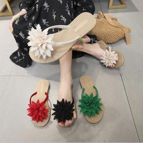8 Style Women Slippers Flowers Tongs Toe Sandal Flip Flops Slippers Beach Shoes New Hot Sale Female Flat Set Toe Casual Shoe