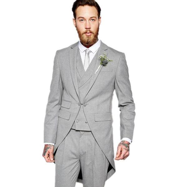 2019 Light Grey groom dress tuxedo Wedding men Suit notched Lapel Jacket+Pants+Tie+Vest custom made boys Best mens suits
