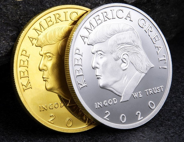 best selling 2020 New Trump Commemorative Coin US President's collection Craft Souvenir Gold Silver Metal Badge Collection Non-currency trump badge