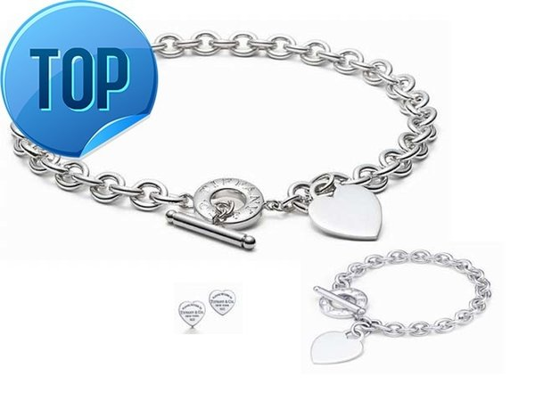 High Quality Celebrity design Letter 925 Silver Ring bracelet Earrings necklace Silverware Metal Heart-shaped Jewelery Set 3pc With Box