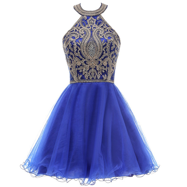 best selling Halter Juniors Cocktail Party Dresses Royal Blue Gold Lace Appliques Homecoming Dresses Short Sweet 15 Prom Dresses