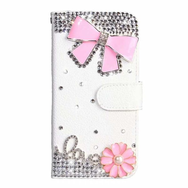Caso de couro de luxo carteira para galáxia a10 / m10 a20 / a20e a40 a40 a50 a70 id bling diamante flor rosa coroa borboleta cartão slot titular tampa