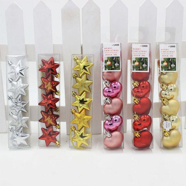 SJ 5pcs/Set 5cm Star Heart Shape Christmas Ornaments And Decorations Christmas Tree Party Hanging Balls Pendant