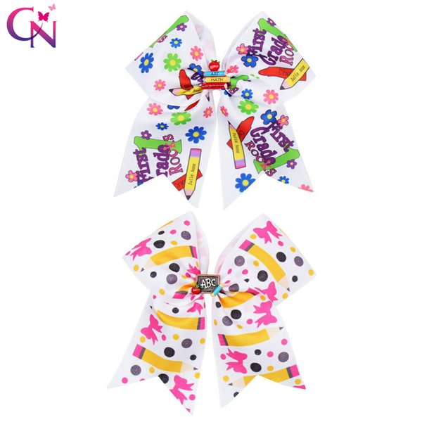 6.5'' BACK TO SCHOOL Cheer Bow for Girls With Clips Resin Cars Patch Hair Bow for Students Print Grosgrain Ribbon Hair Accessories