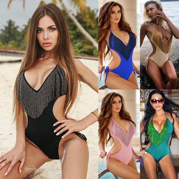 2019 Sexy Tassel One Piece Swimwear Bandage Bathing Suit Bodysuit Beach Wear Women High Cut Swimsuit Solid Push Up Monokini