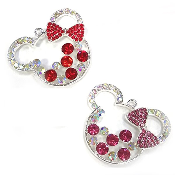 20pcs/lot Wholesale Pretty Fancy red/rose pink Rhinestone bowknot cute mickey chunky pendant/charm for DIY necklace