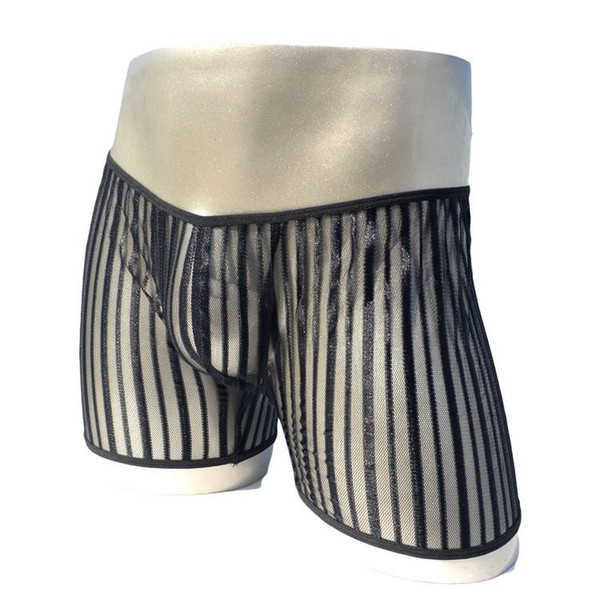 Sexy Gay Underwear Men Boxer Shorts Transparent Mesh Panties Man Low-rise U Convex Pouch Underpants Cueca calzoncillos