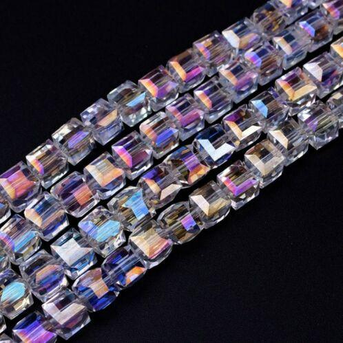 300 adet / grup Beyaz AB Renkli Kare Avusturya Kristal Boncuk charm Cam Boncuk Spacer Boncuk Takı Yapımı Için 4mm 6mm 8mm