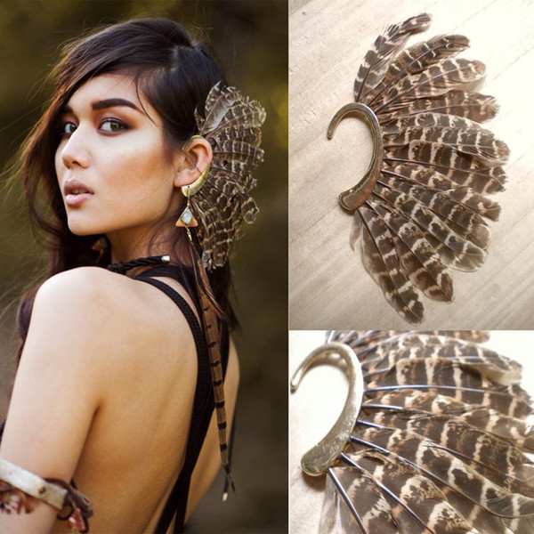 Africa Wholesale or Retail- New Unique 1Pc(Left)Unisex Big Feather Ear Cuff Non Piercing Gold Clip On Earrings For Women/Men