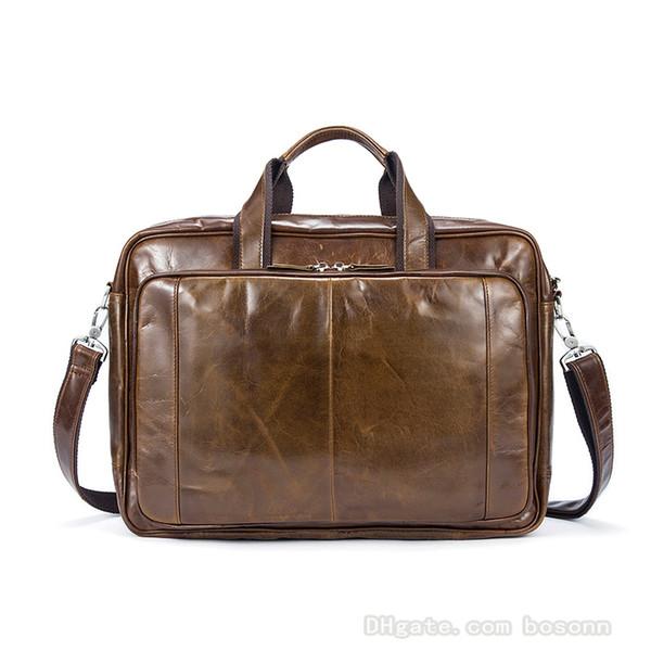 e207b4fb22536 Gerçek deri vintage katı renk bir omuz çanta kafa katmanlı deri evrak çantası  Postacı çantası seyahat