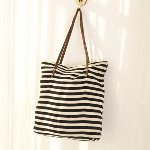 Cotton Stripe Both Shoulders Package Woman Small Fresh Transverse Stripe Computer Package Canvas Bag Student Remediation Bag