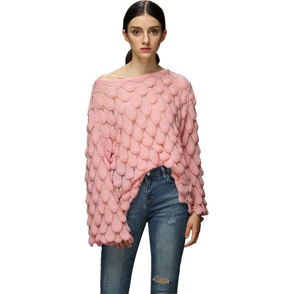 Señoras de punto ahuecado Crochet Summer Pullover Tops Mujeres Mesh Thin Plus Size Ladies Knit Loose Pullovers Sweaters Mujer