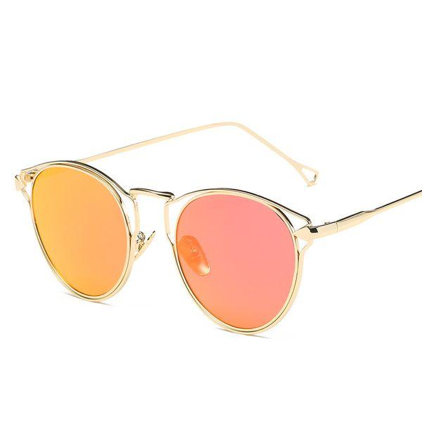 Luxury Metal Sunglasses Light Design Women Shade Glasses Full Frame Retro Eyewear Good Quality Uv Protection Popular Sunglasses