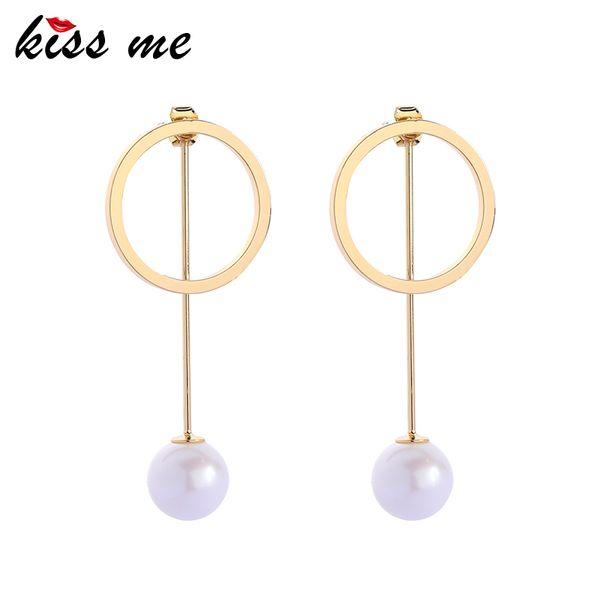 Elegante runde simulierte Perlen-hängende Tropfen-Ohrring-trennbare Frauen-Tropfen-Ohrringe für Parteimode