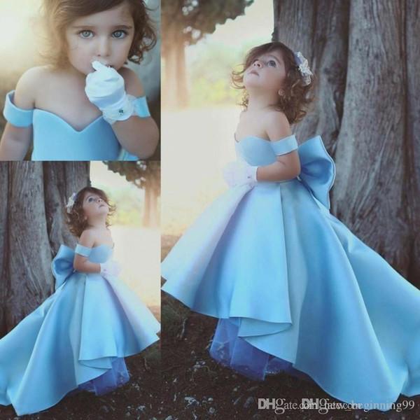 С плеча Хай-Лоу с большим бантом Красивые 2019 Дети торжественная одежда Простые дешевые Элегантные платья для девочек-цветочниц