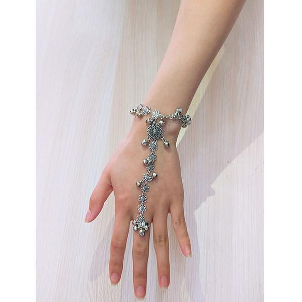 Bohemian Finger Circle Bracelet Vintage Flower Bell Pendant Bracelet For Women Fashion Summer Jewelry Femme Accessories 2019 New