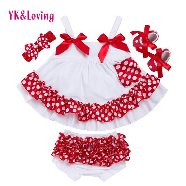 Moda Bebê Meninas Balanço Top Set Polka Dot Swing Ruffled Outfits Com Matching Bloomer Headband Conjuntos de Roupas Menina Infantil X006 Y19061303