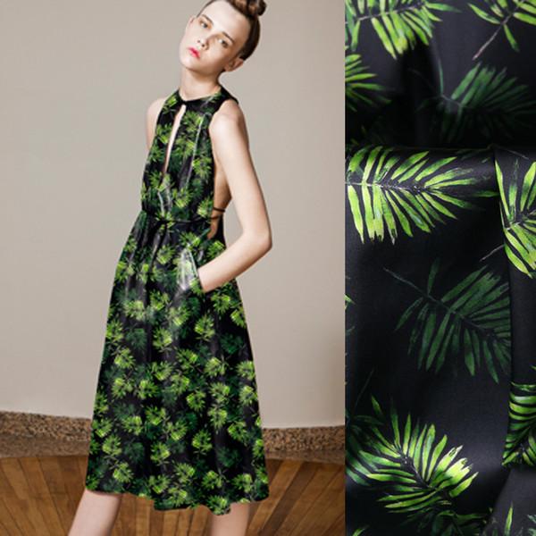 118CM Wide 19MM 93% Silk & 7% Spandex Green Leaves Print Stretch Silk Satin Fabric for Dress Cheongsam Shirt Jacket D1002