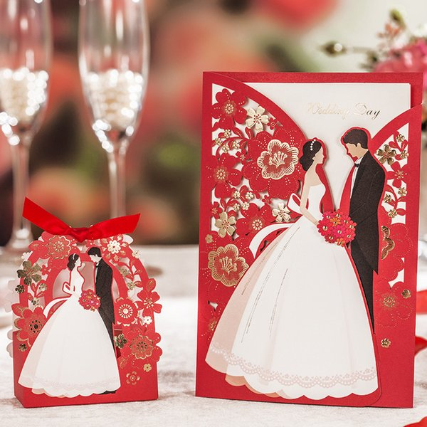 Wedding Decoration Red Laser Cut Wedding Invitations 50pcs Luxurious Elegant Bride Groom Invitation Cards for 2019
