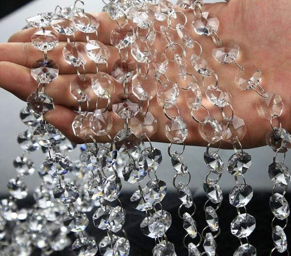 14mm Crystal Clear Akrilik Asılı Boncuk Zincir gümüş yüzük Garland Perde Avize parti düğün NOEL Ağacı dekorasyon