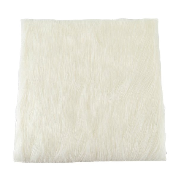 15.7inch Luxurious Square Genuine Sheepskin Leather with Long Plush Wool Fur Chair Car Seat Cover Cushion Pad Area Rug(Natural