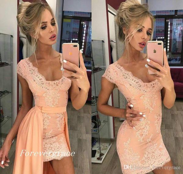 2019 günstige rosa Spitze Cocktailkleid Mantel V-Ausschnitt mit abnehmbaren Zug Semi Club Wear Homecoming Party Kleid Plus Size Custom machen