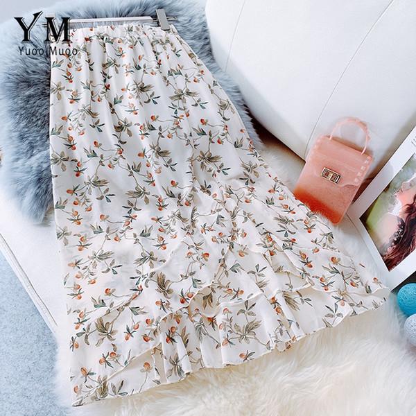 Falda de volantes de gasa floral de verano Yuoomuoo 2019 Falda midi de cintura alta asimétrica coreana para mujer Falda elegante de sirena MX190731
