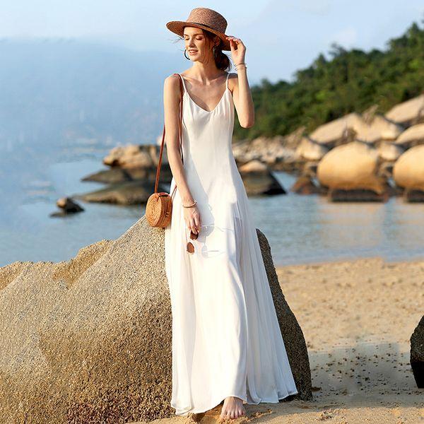 Летнее платье Мода Новое женское платье Богемный сплошной цвет слинг V-образным вырезом Фея Длинное платье женское