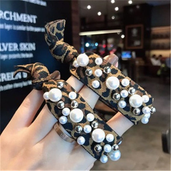 Fashion Hair Accessories for Women Fashion Pearl Hair Rope Beaded Knotted Barrettes Pearl High Elastic Hair Rubber Bands