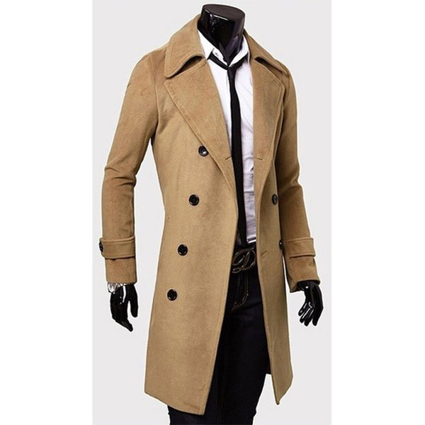ZOGAA 2018 Moda Invierno Hombre Estilo Británico Trench Coat Largo Slim Fit Abrigo Chaqueta Abrigos de viento Prendas de abrigo Tops Hombres Abrigo de lana