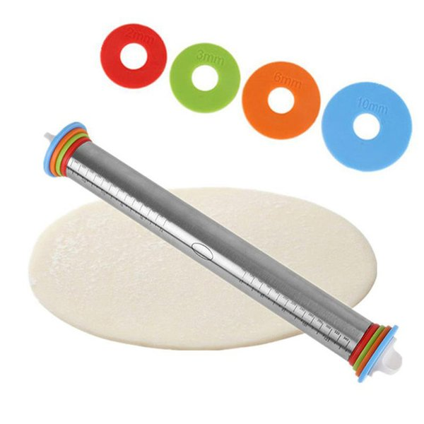 Stainless Steel Rolling Pin Adjustable Spacers Discs Non-Stick Thickness Removable Rings Dough Roller Baking Pizza Noodles Tool