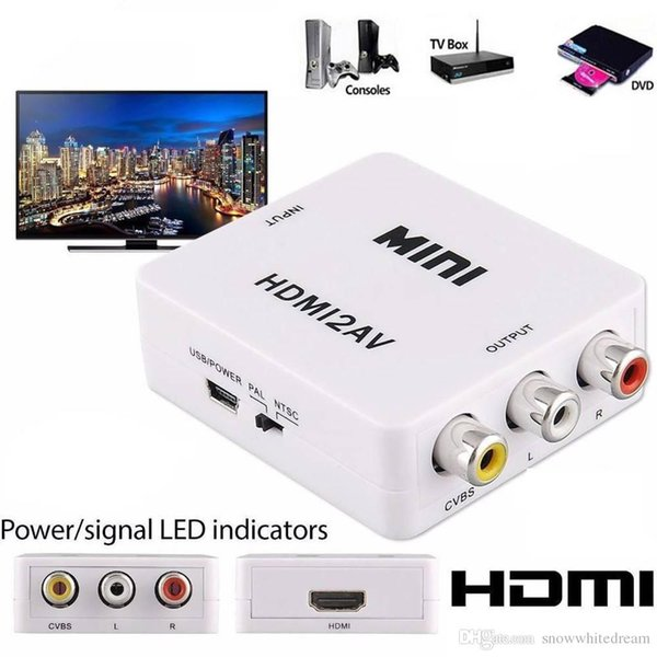 HDMI to RCA AV CVBS Component Converter Scaler 1080P Adapter Cable Box for Monito L/R Video HDMI2AV HD Support NTSC PAL