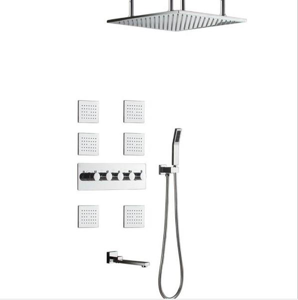304SUS and brass Made Bathroom Shower Faucets 50*50cm Rain Showerhead Shower Set High Flow Diverter Mixer Rainfall Body Jets Shower System