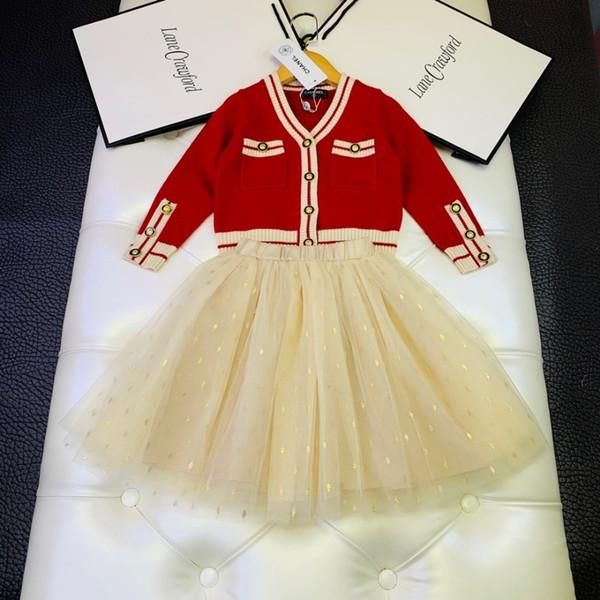 Gonne per ragazze set abbigliamento firmato per bambini cardigan in maglia + gonna a rete 2 pezzi autunno vento college set moda tessuto a maglia morbido e flessibile