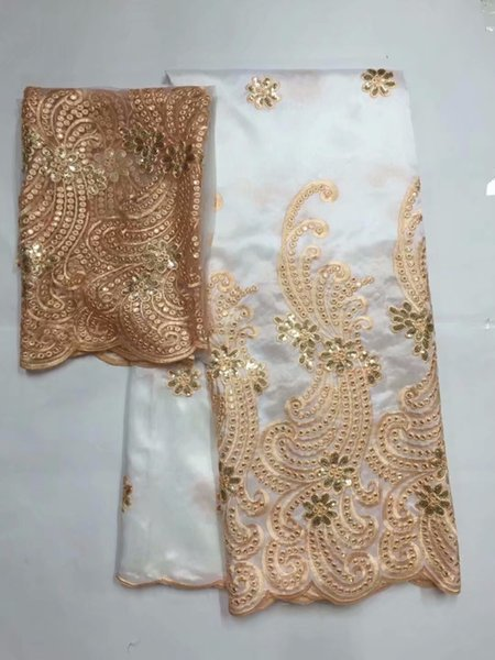 white African George Lace Fabric With Blouse Sequined George Silk Fabric Nigerian Guipure Embroidery George Lace Material