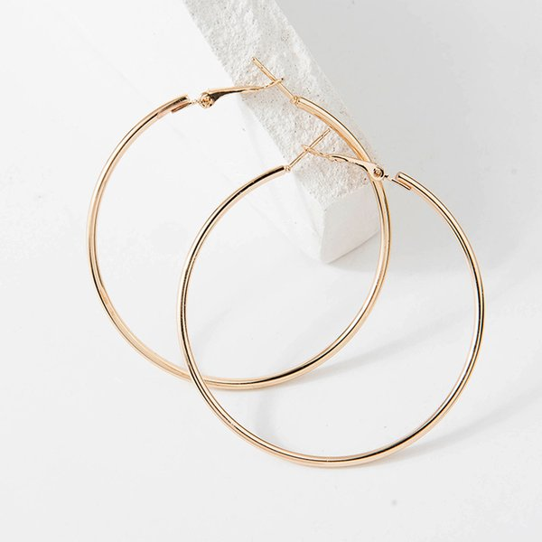 Fashion Large Hoop Earrings 40mm 60mm 80mm Big Smooth Circle Earrings Round Brincos Loop for Women Jewelry Party Gifts
