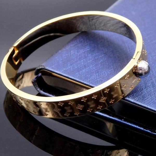 Nuevo Casual de acero inoxidable de oro carta impresión pulseras de alta calidad pulseras del partido de noche para mujeres hombres Super Star Bracelter