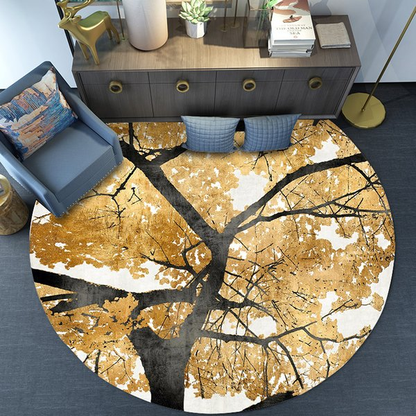 Vintage Golden Leaves Printed Round Carpets for Living Room Computer Chair Area Rug Child Play Tent Floor Mat Cloakroom Rugs