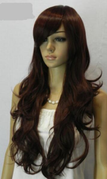FREE SHIPPING++ + Hot Women Dark Brown Wavy Japan Kanelaon Silk Daily Cosplay Long Hair Full Wig