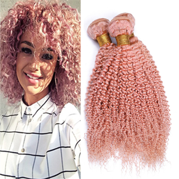 Light Pink Kinkys Curly Human Hair Weave Extensions Colored Pink Curly Virgin Malaysian Hair Wefts 3 Bundles Deals 300g Lot