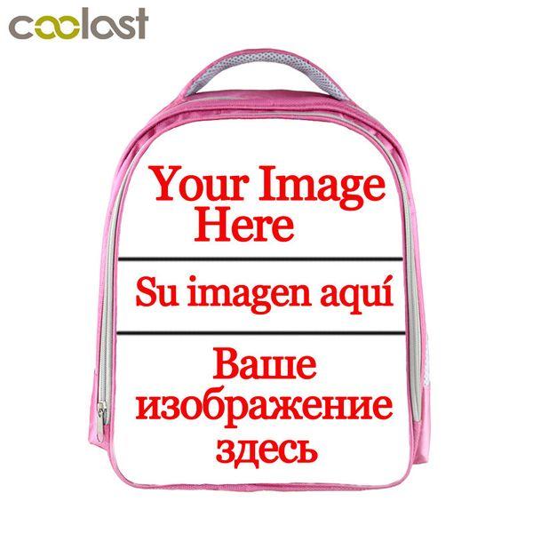 Customized Your Image Logo Name Children School Bags For Girls 13 Inch Cartoon School Backpack Pink Kindergarten Bag J190521