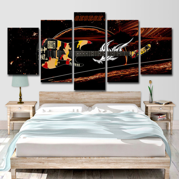 HD Printed 5 Piece Canvas Art Fantastic Guitar Music Instrument Painting Wall Pictures for Living Room Free Shipping