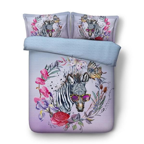 3pcs Bettbezug 2 Kissen Shams-Set für Kinder Mädchen Jungen Cartoon Zebra-Schmetterlings-Aquarell-Muster Tröster Bettbezug Bettwäsche Set Zipper