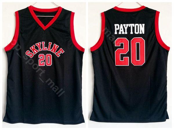 Skyline Gary Payton Jersey 20 High School College Team Uniforme de baloncesto de color negro para los fanáticos del deporte Bordado transpirable y cosido