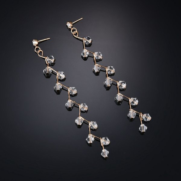 Drop Dangle Earrings Black White Austrian Crystals Luxury Wedding Earing For Brides