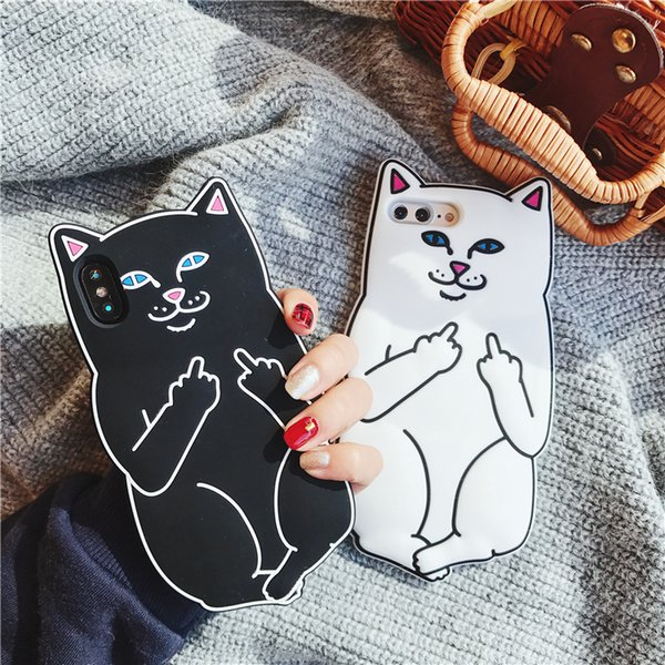 Luxury 3D Soft Silicon Cat Case for Iphone X XS 10 8 7 I Phone 7 Plus Cartoon Animals Rubber Middle Finger Capa Cover for Iphone8 Plus