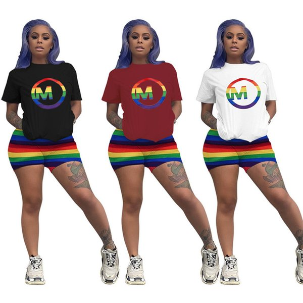Rainbow Strips Women Two Piece Outfit Brand M letter Designer Tracksuit Short Sleeve T Shirt + Shorts Sportswear Fashion Clothing SetC61906