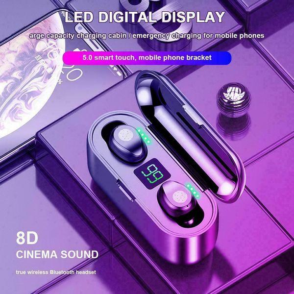 Беспроводные наушники Bluetooth V5.0 F9 TWS Беспроводные Bluetooth наушники Светодиодный дисплей с 2000mAh Power Bank гарнитура с микрофоном