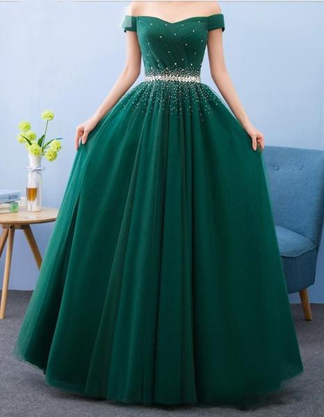 Vestidos de noche con cuentas y hombros descubiertos Vestido largo formal 2019 Vestidos de fiesta largos hasta el suelo verdes Vestido de noche